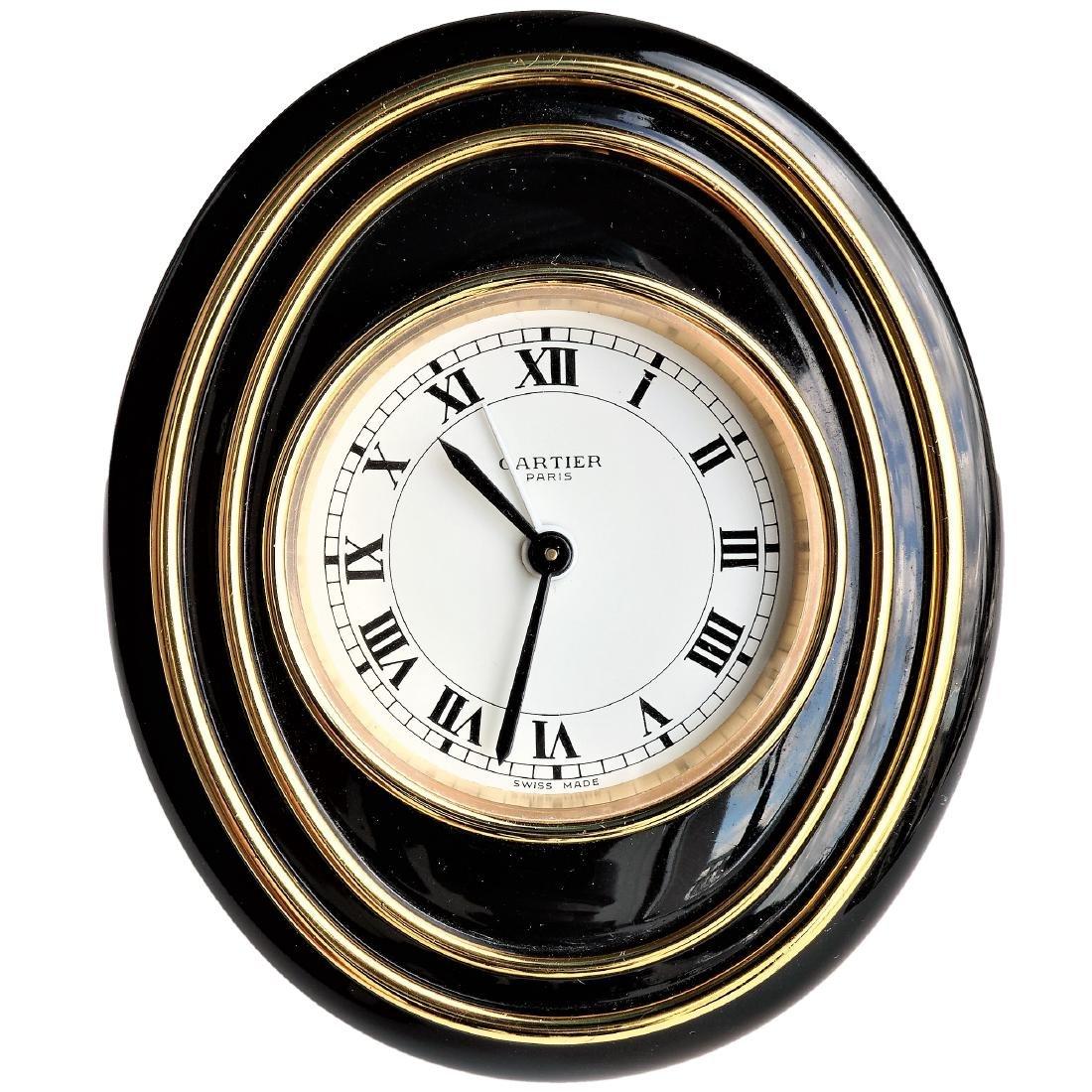 Must de Cartier Guilloche Enamel Desk Clock