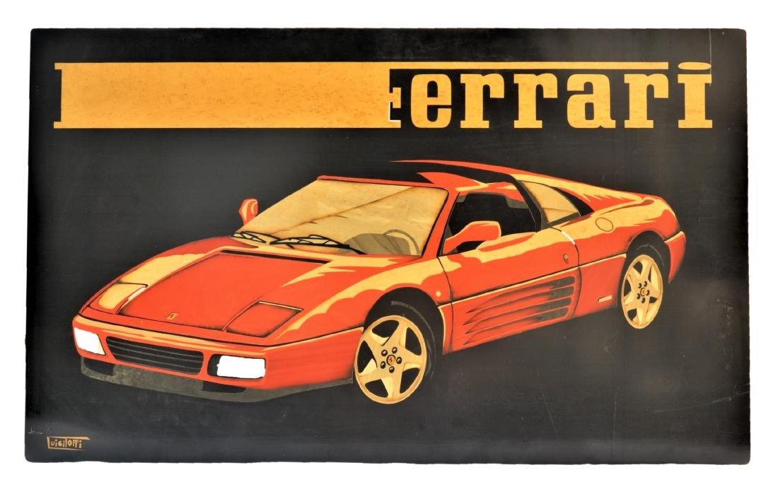 "Marquetry Ferrari Wooden 348GTS 42.5"" x 26"""