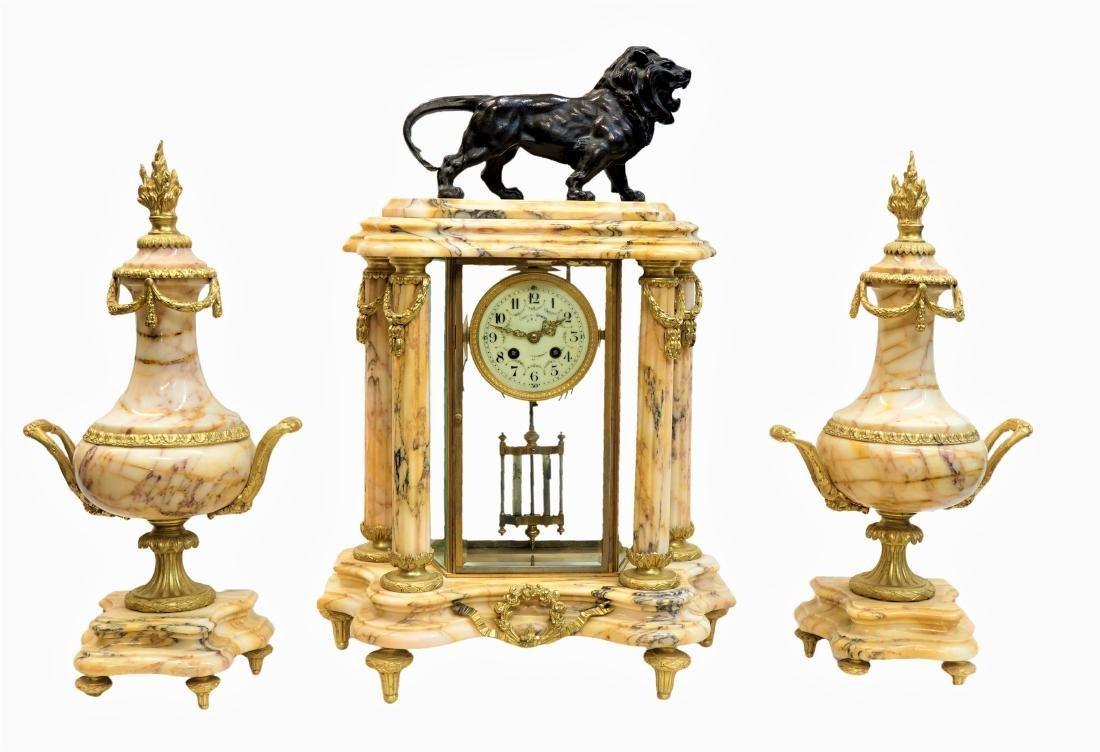 Sienna Marble Mantel Clock with Bronze Lion Statue
