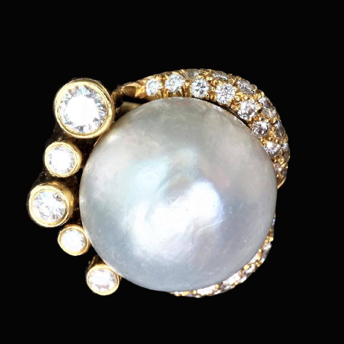 18k Yellow Gold Ring with a 16mm Pearl