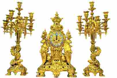Early 19th C. Gothic-Renaissance 3 Piece Clock Set