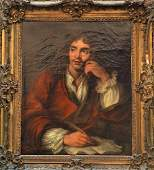 Antique Oil on Canvas of Moliere