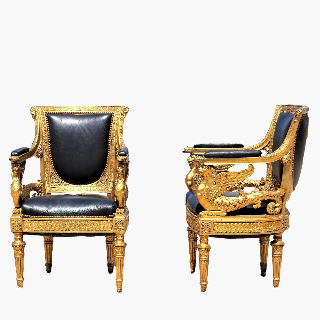 18th Century Russian Imperial Gilded Arm Chairs