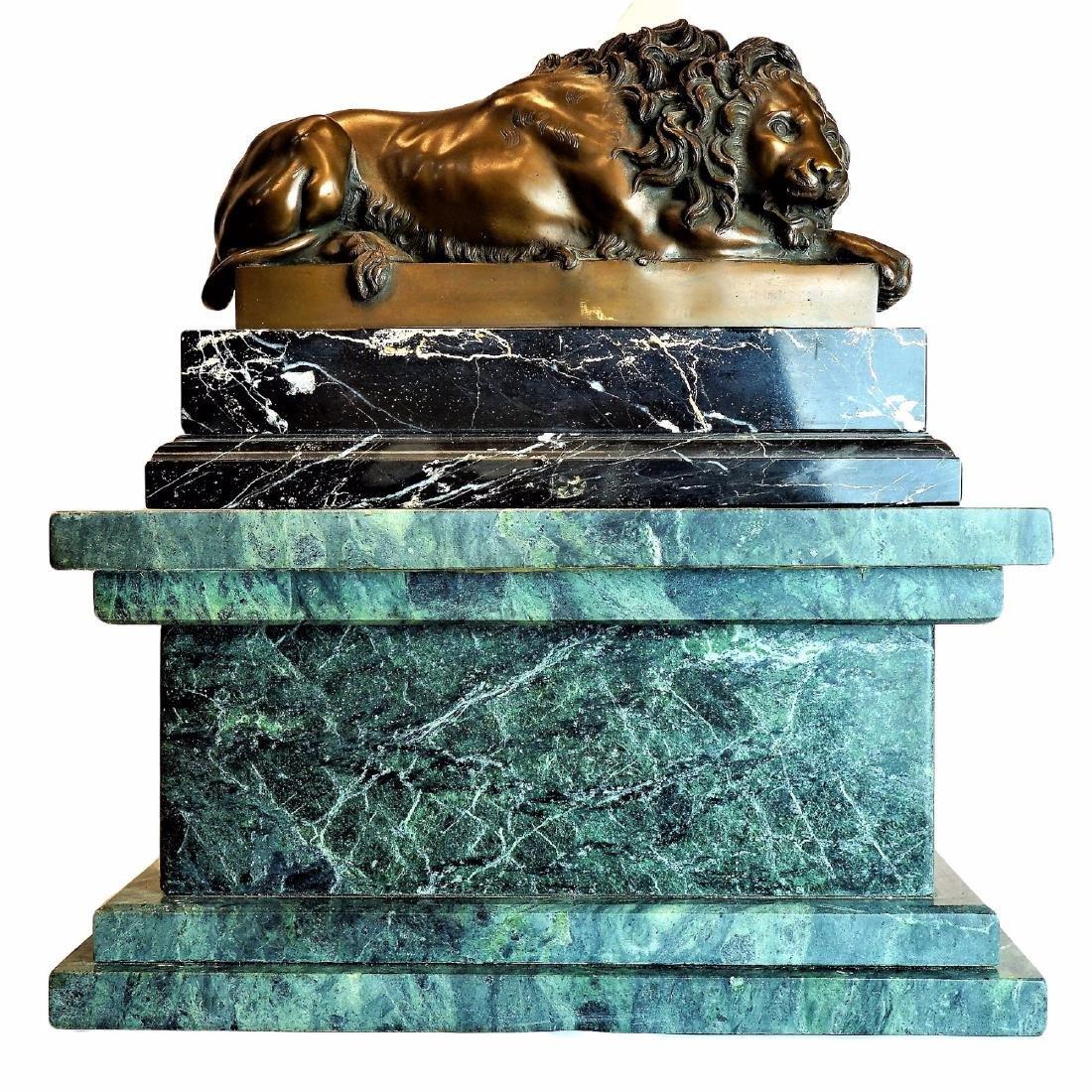 Bronze Lion Statue on Large Marble Plinth