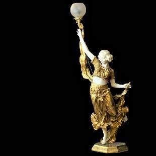 """Italian """"A. Gori"""" Dancer Statue in Marble and Dore"""