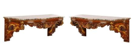 Louis XV Marble Topped Console Tables