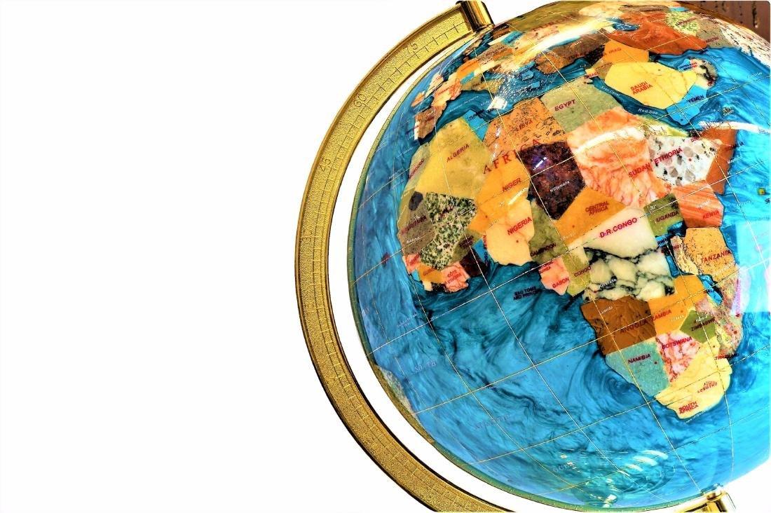 Inlaid Stone Desk Globe - 2