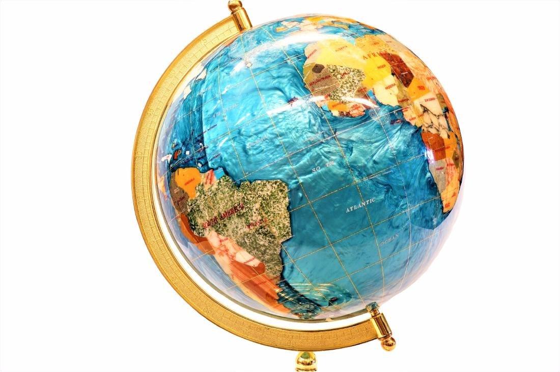 Inlaid Stone Desk Globe - 3