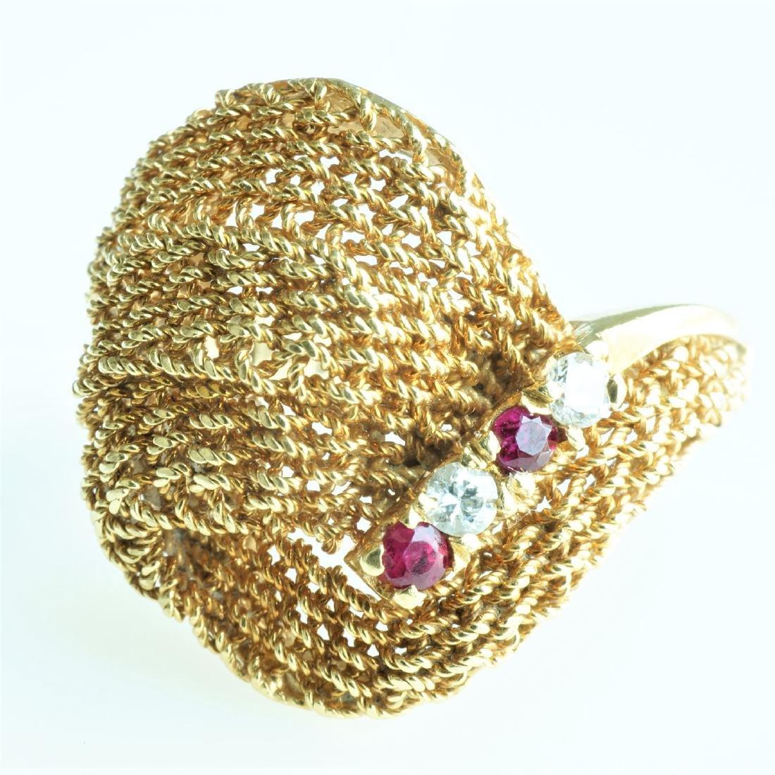Ladies 18k Yellow Gold, Diamond, & Ruby Ring
