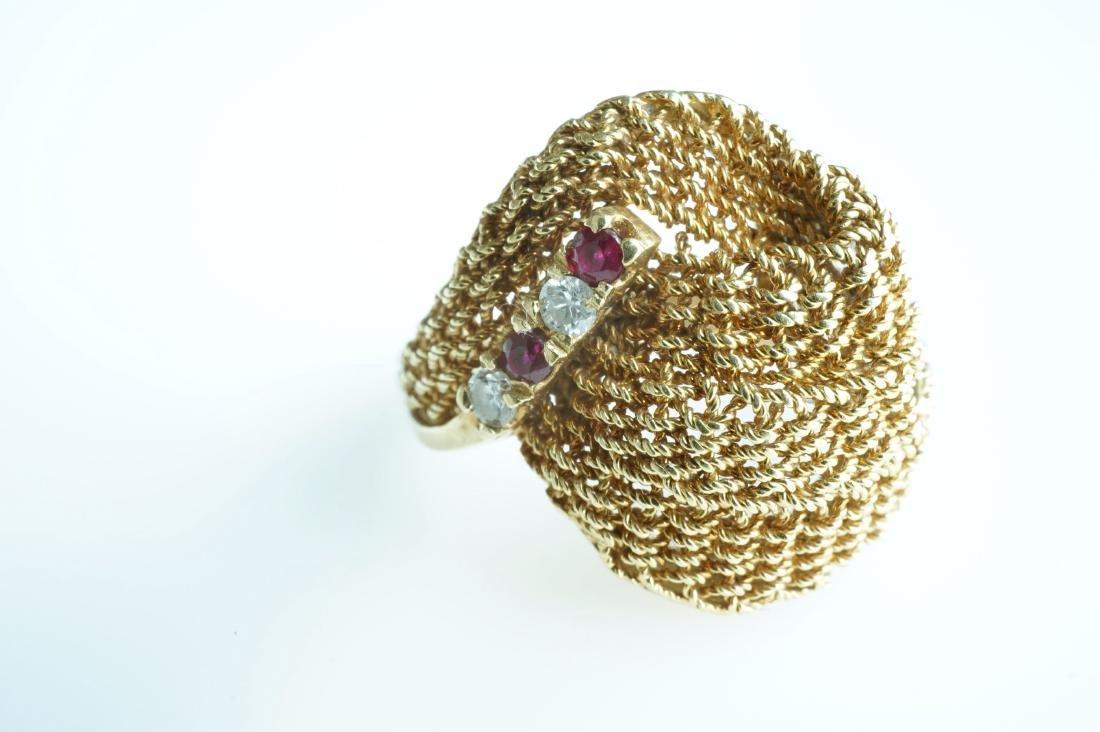 Ladies 18k Yellow Gold, Diamond, & Ruby Ring - 2