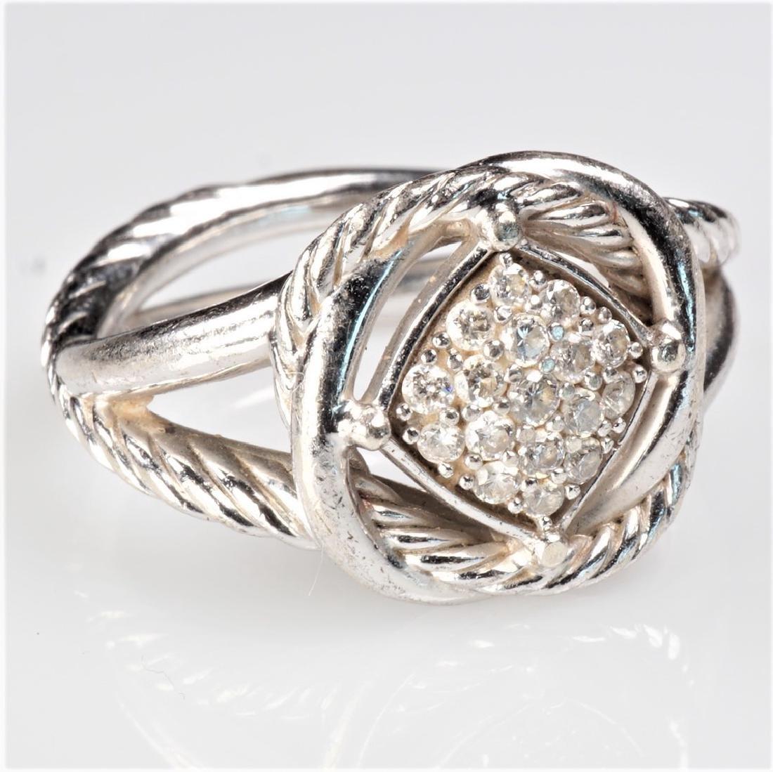 David Yurman Sterling and Diamond Ring Sz 5.75