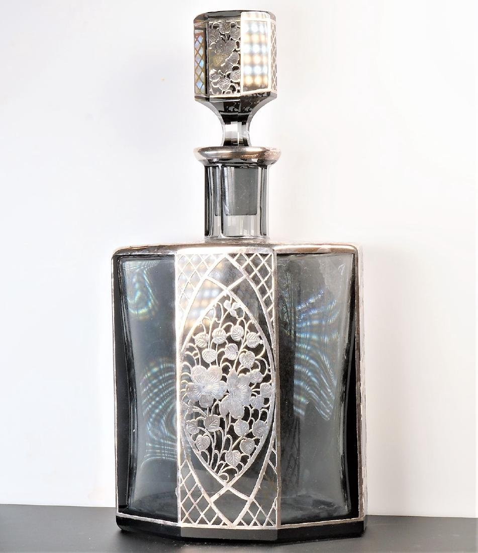 """Antique 10.5"""" T Sterling Overlay Decanter"""