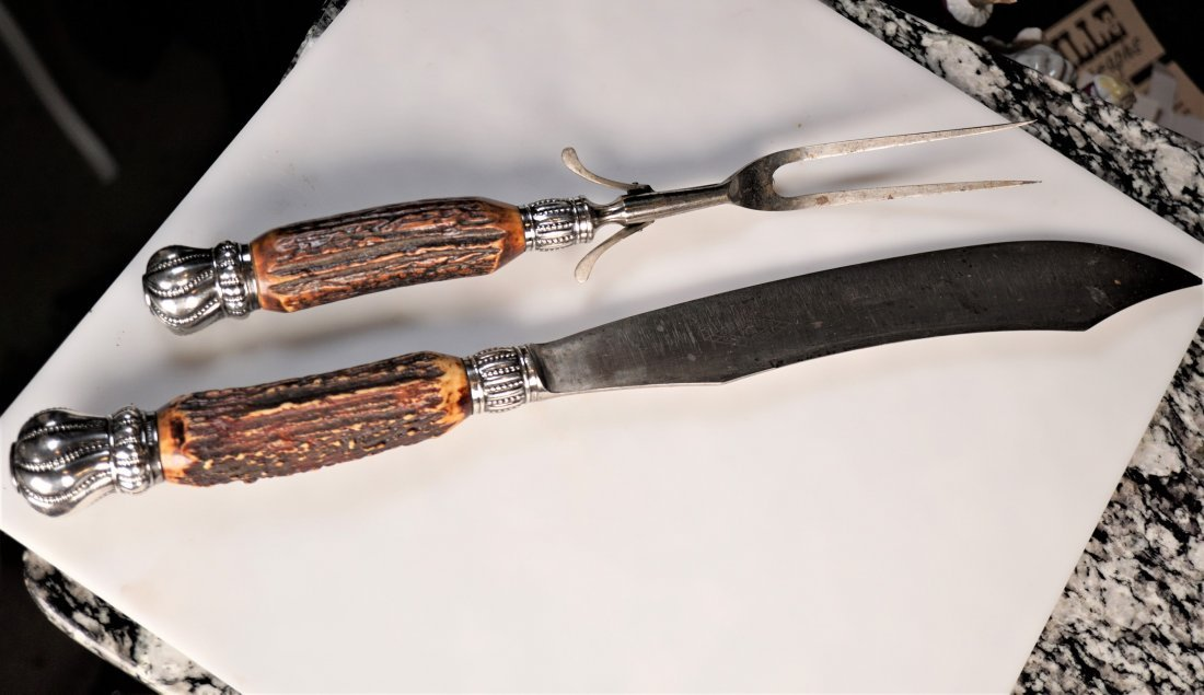 Set of Stag Horn Silver Carving Utensils