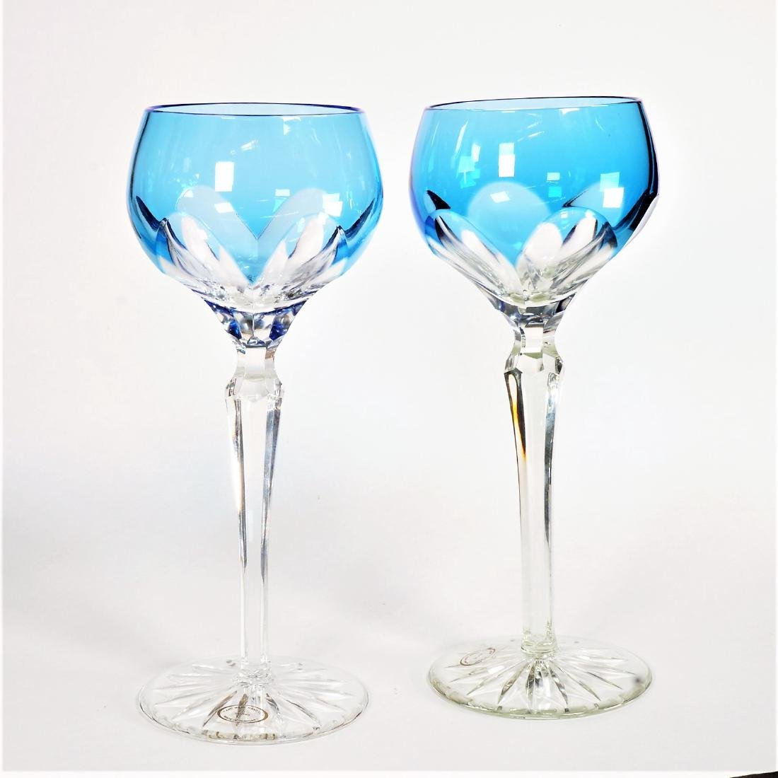 Pair of Cobalt Cut to Clear Dessert Glasses
