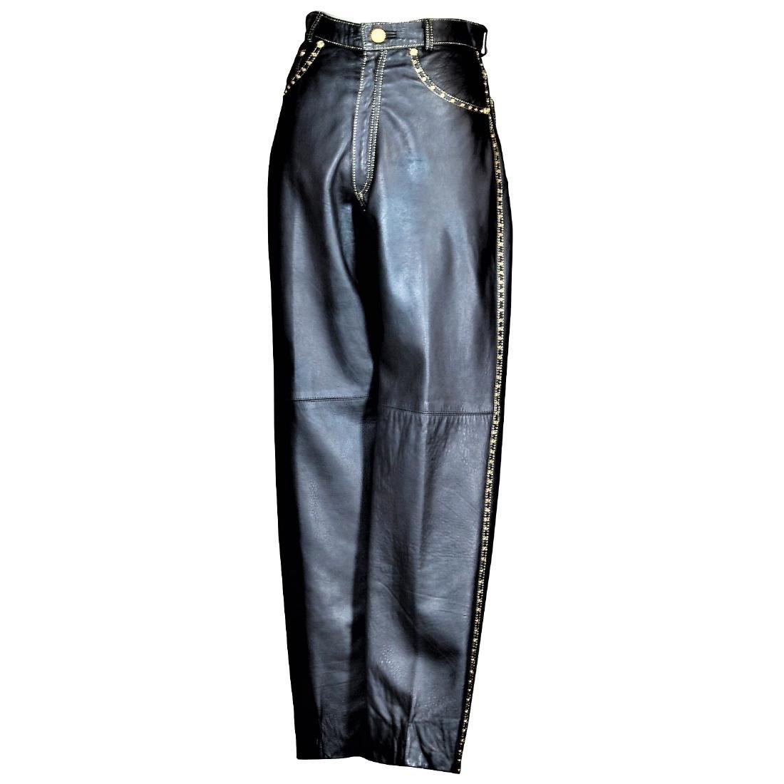 Roberto Cavalli Haute' Couture Black Lambskin Jeans