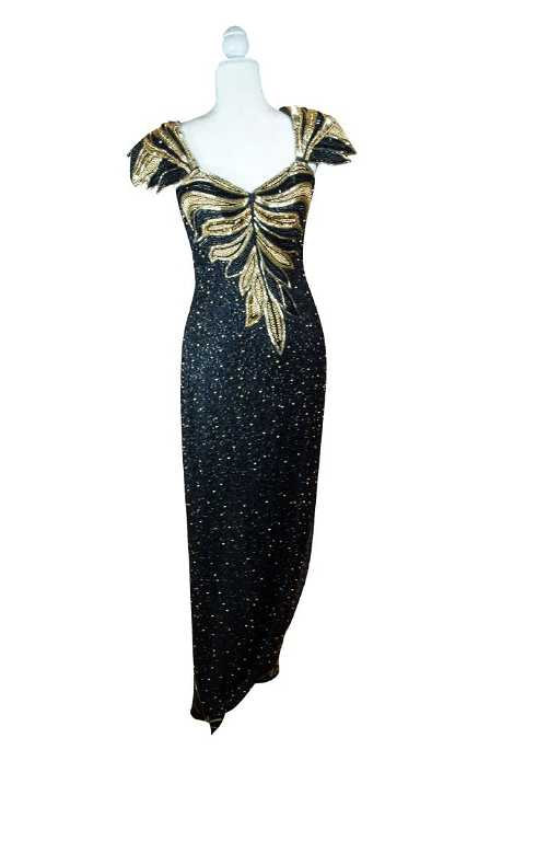 Bob Mackie Haute\' Couture Black and Gold Sequin Gown