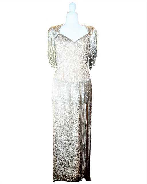Bob Mackie Haute\' Couture Champagne Silk Beaded Fringe