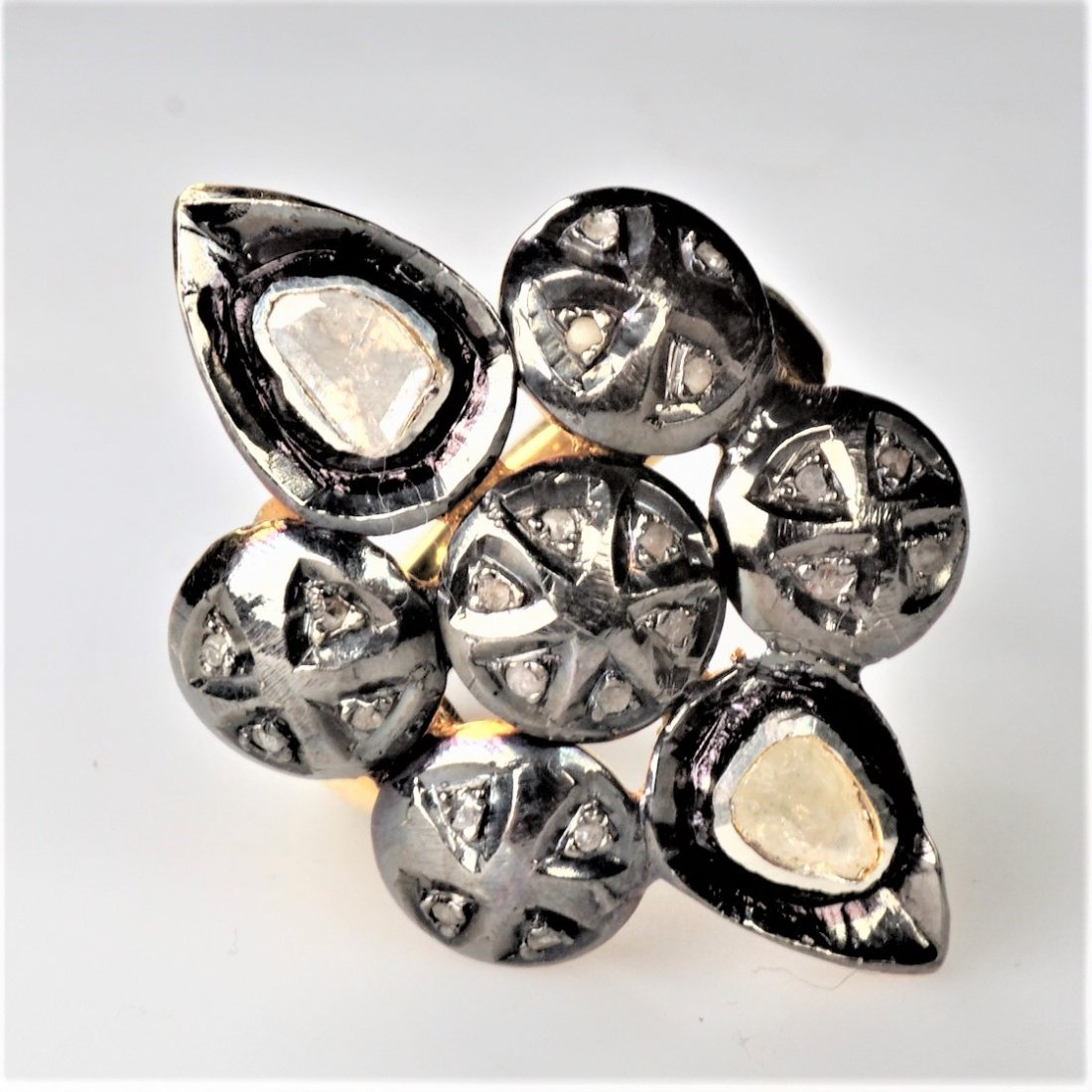 Old World Mine Cut Diamond Ring Sz 7.75