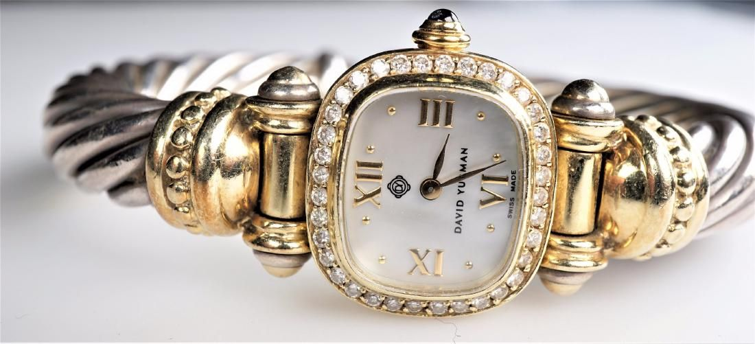 David Yurman Sterling & Gold Braided Cable Watch