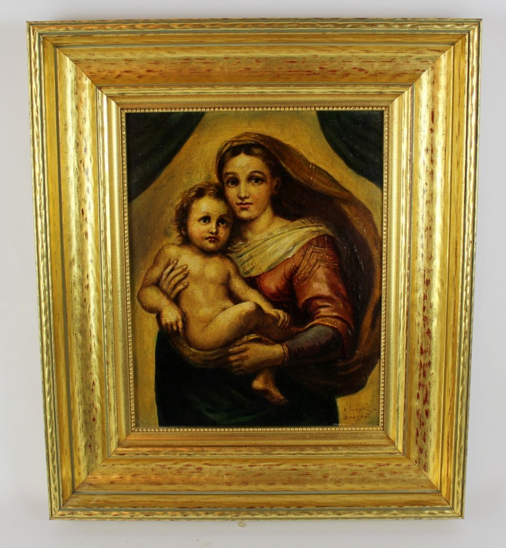 Oil on Canvas Madonna and Child