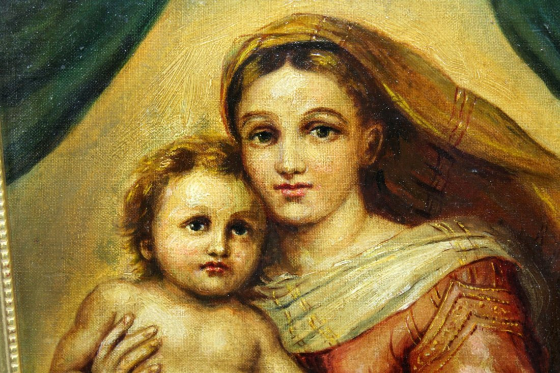 Oil on Canvas Madonna and Child - 2