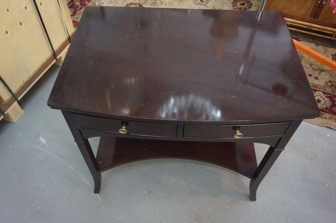 2 Polished Dark wood side tables - 2