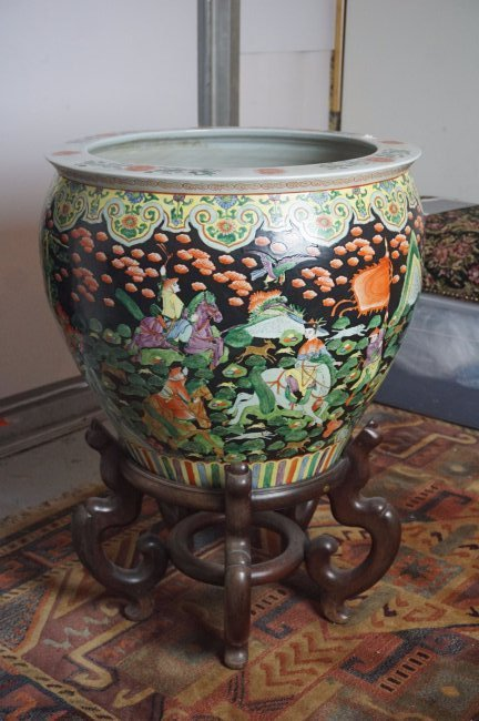 Palatial Chinese Fish Bowl on Rosewood Stand