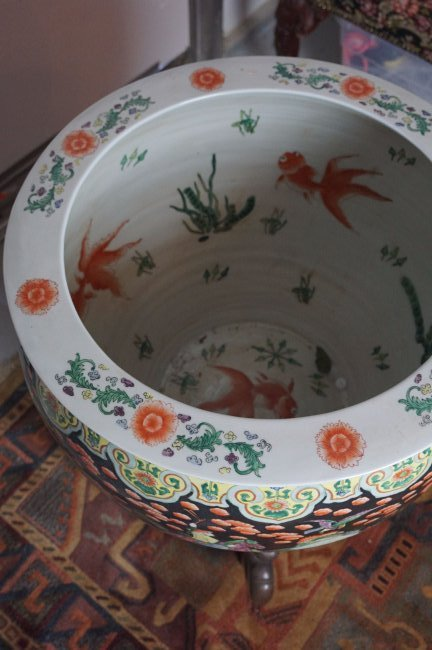Palatial Chinese Fish Bowl on Rosewood Stand - 2