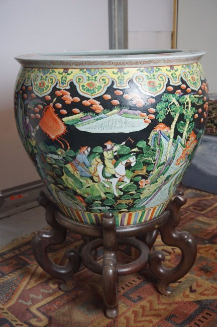 Palatial Chinese Fish Bowl on Rosewood Stand - 4