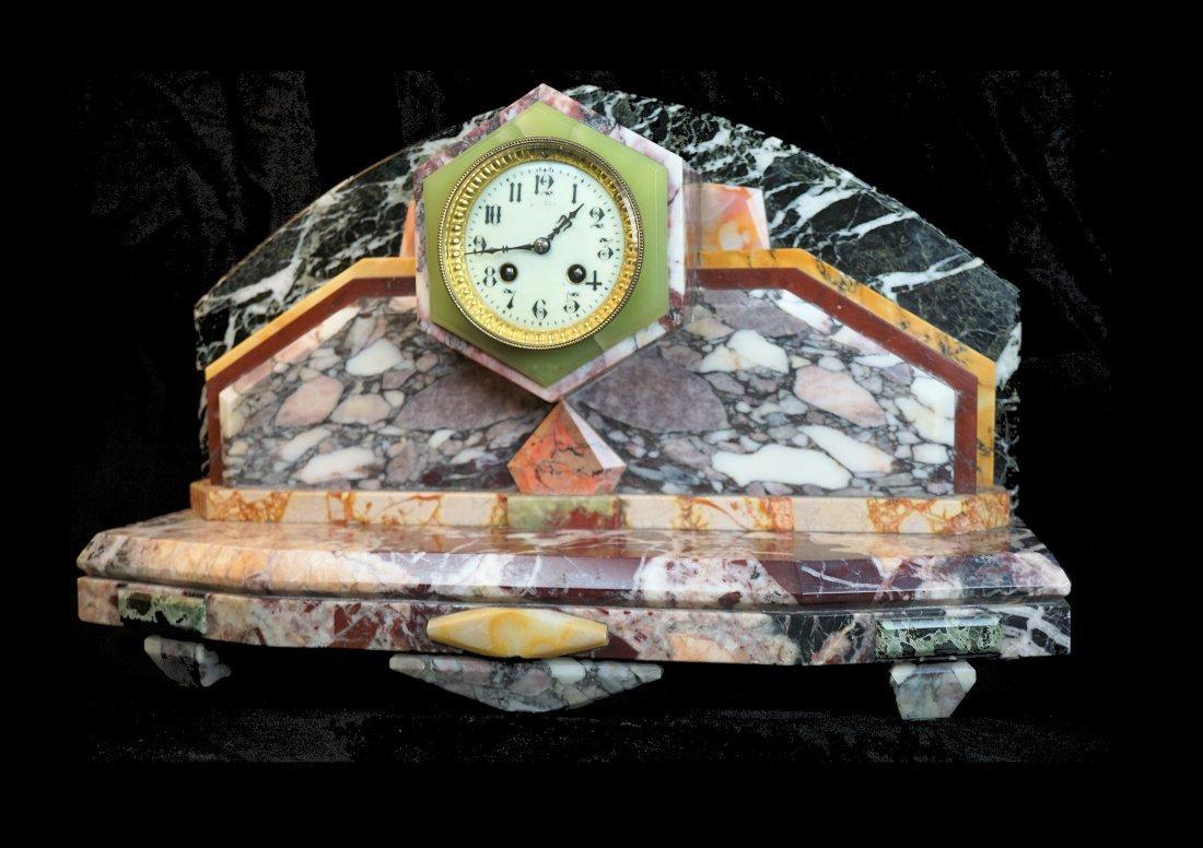Multi Marble Art Deco French Mantel Clock