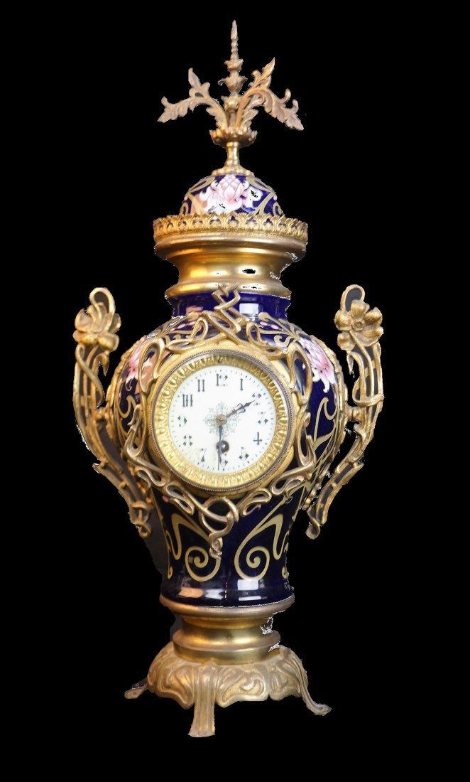 Art Deco Antique French Blue Urn Clock