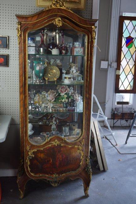 Matchbook Veneer Vernis Martin Glass Shelf Display Case