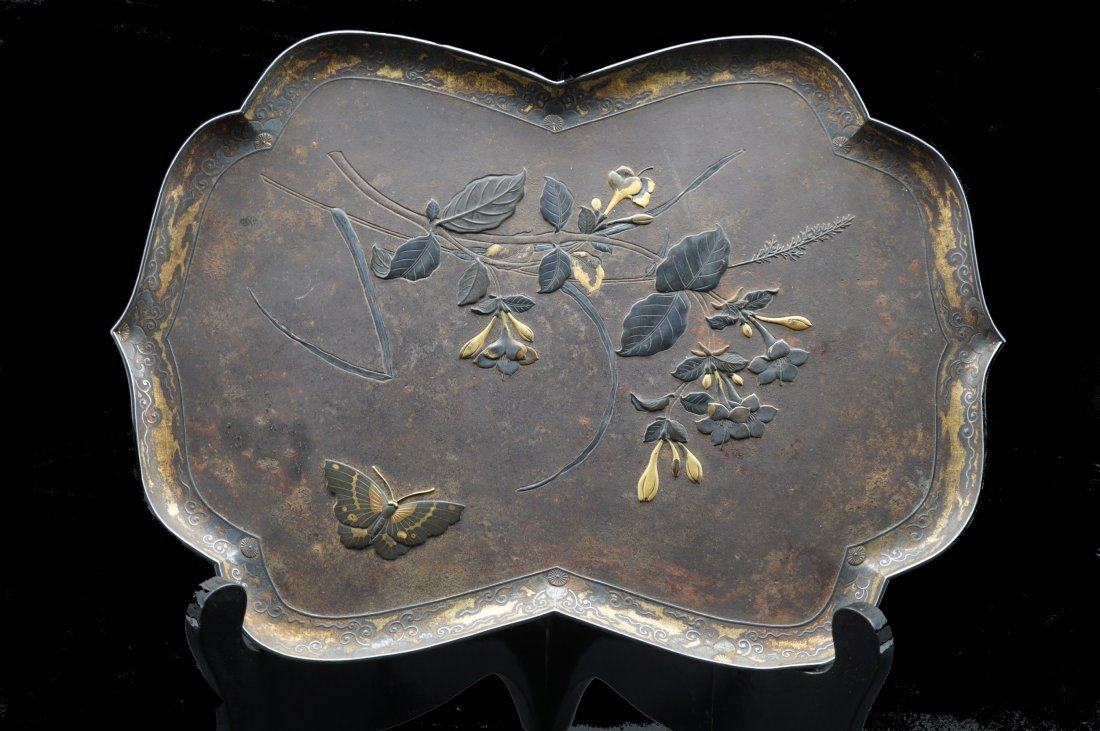 Meiji Period Japanese Shakudo Gold and Bronze Tray