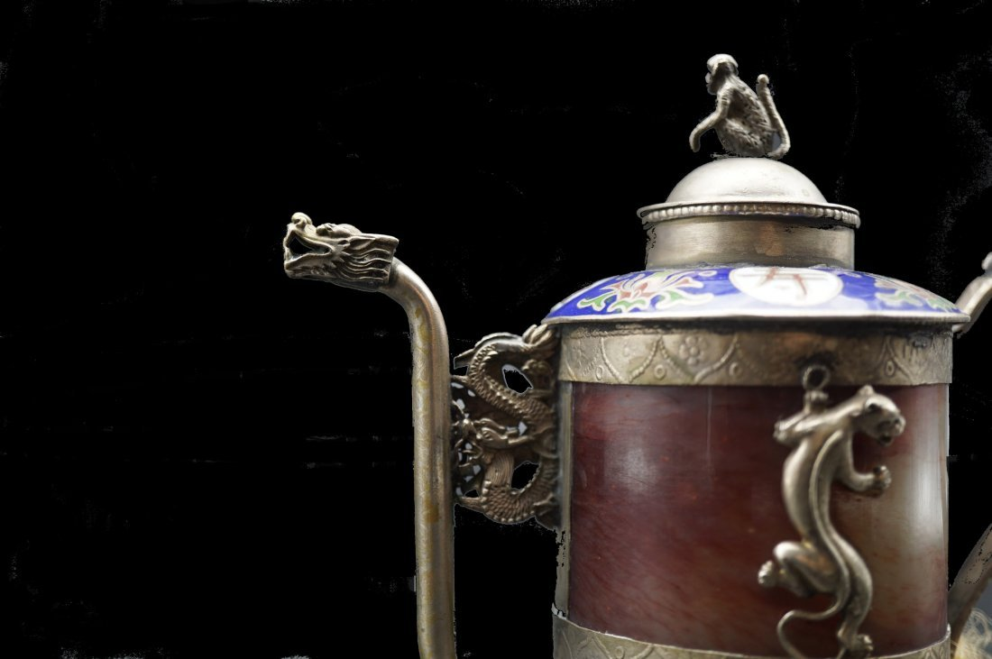 Miniature Chinese Agate and Cloisonne Tea Pot