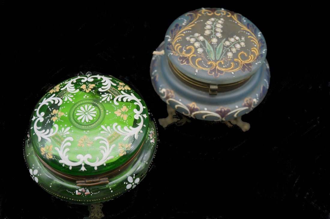 Pair of French Painted Glass Lidded Jars