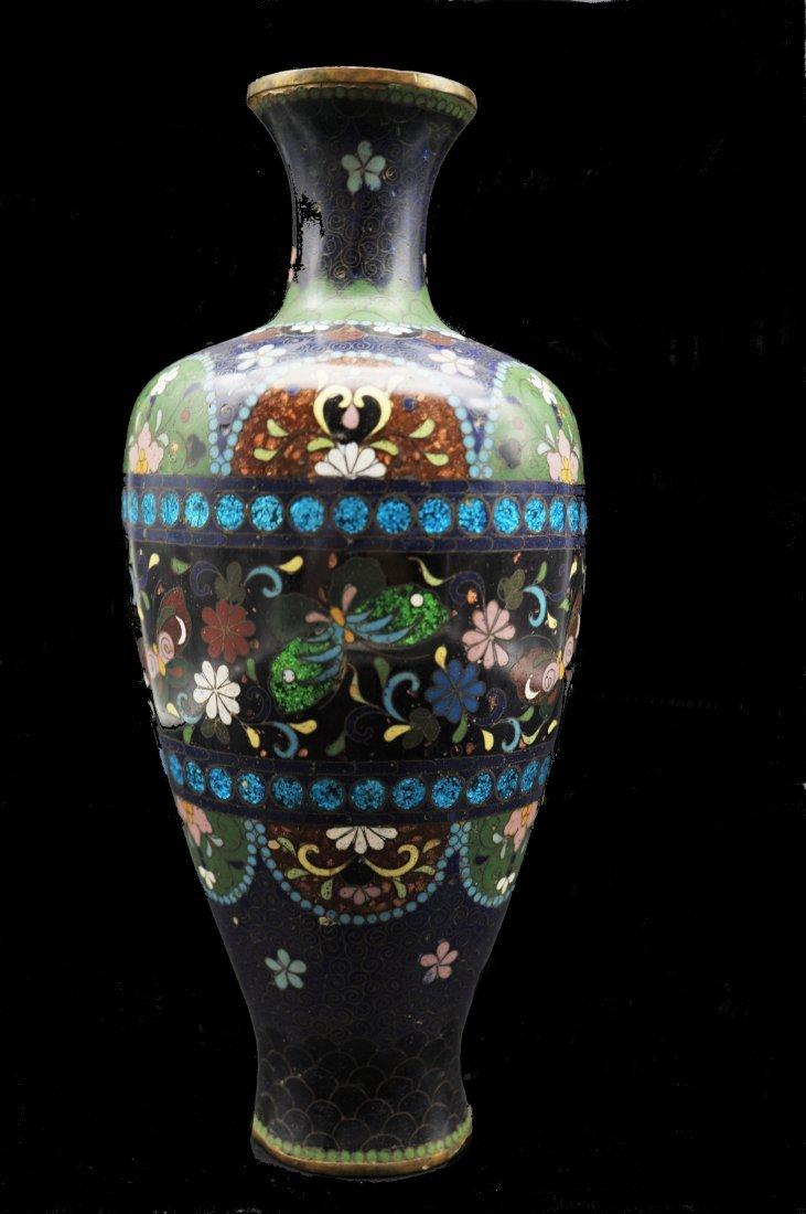 Cloisonne Vase with Semi Precious Stone Inserts