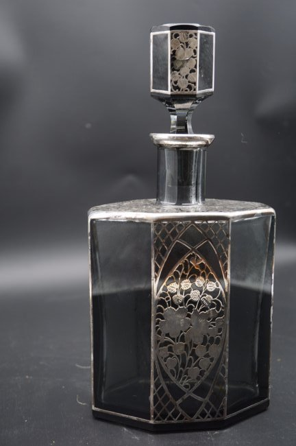 Antique Large Sterling Over Lay Decanter