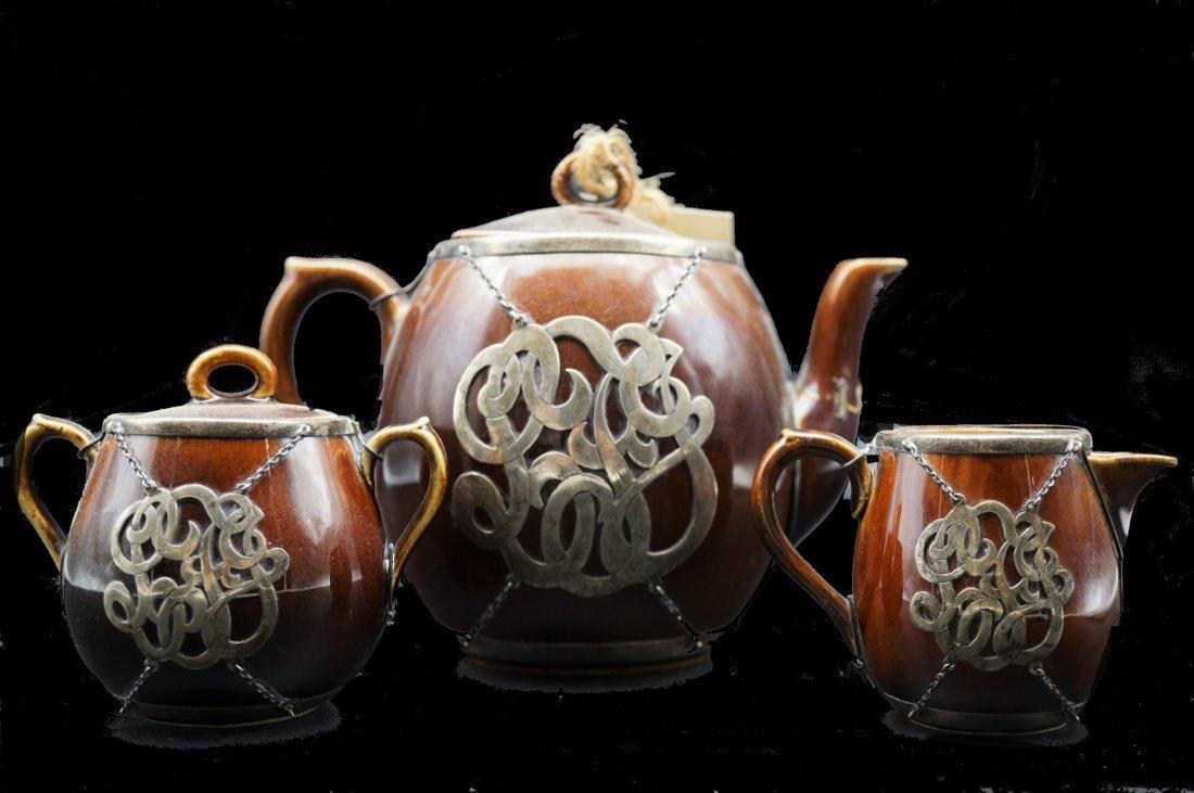 19th Century Sterling Overlay Tea Service