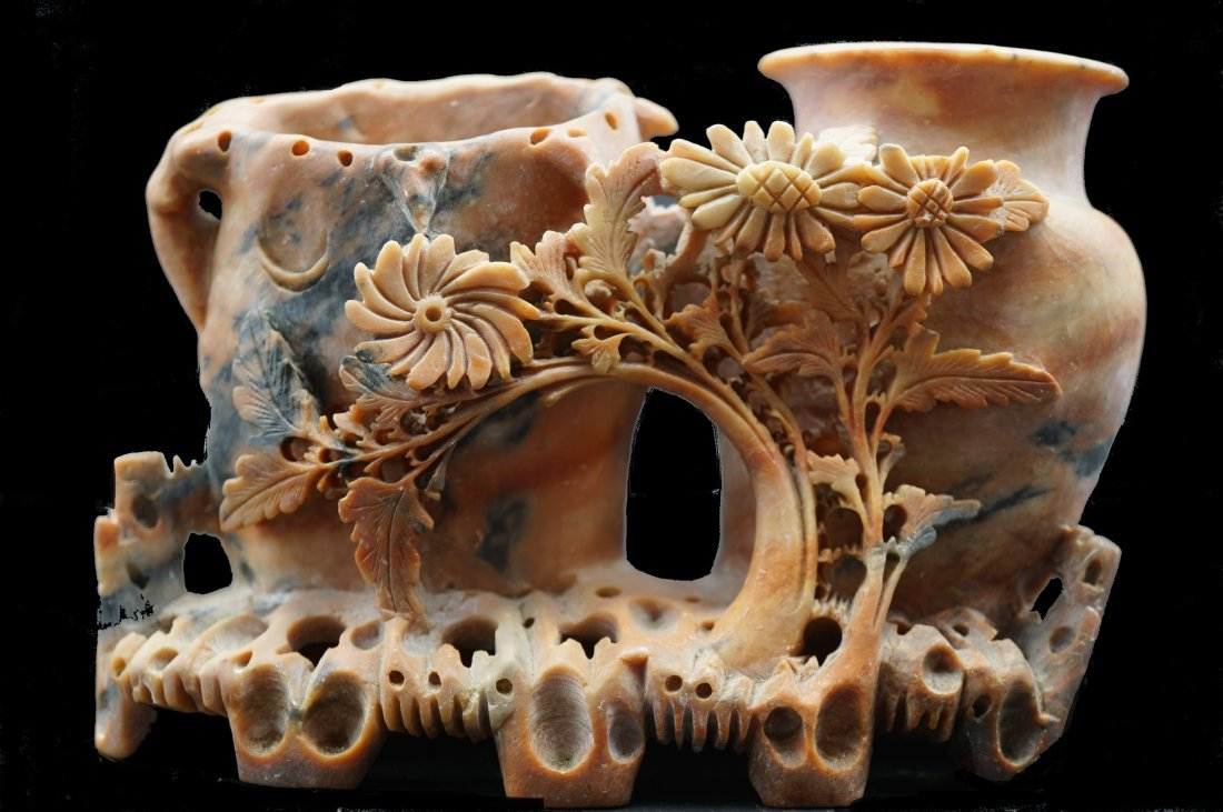 Antique Chinese Carved Soapstone Vase