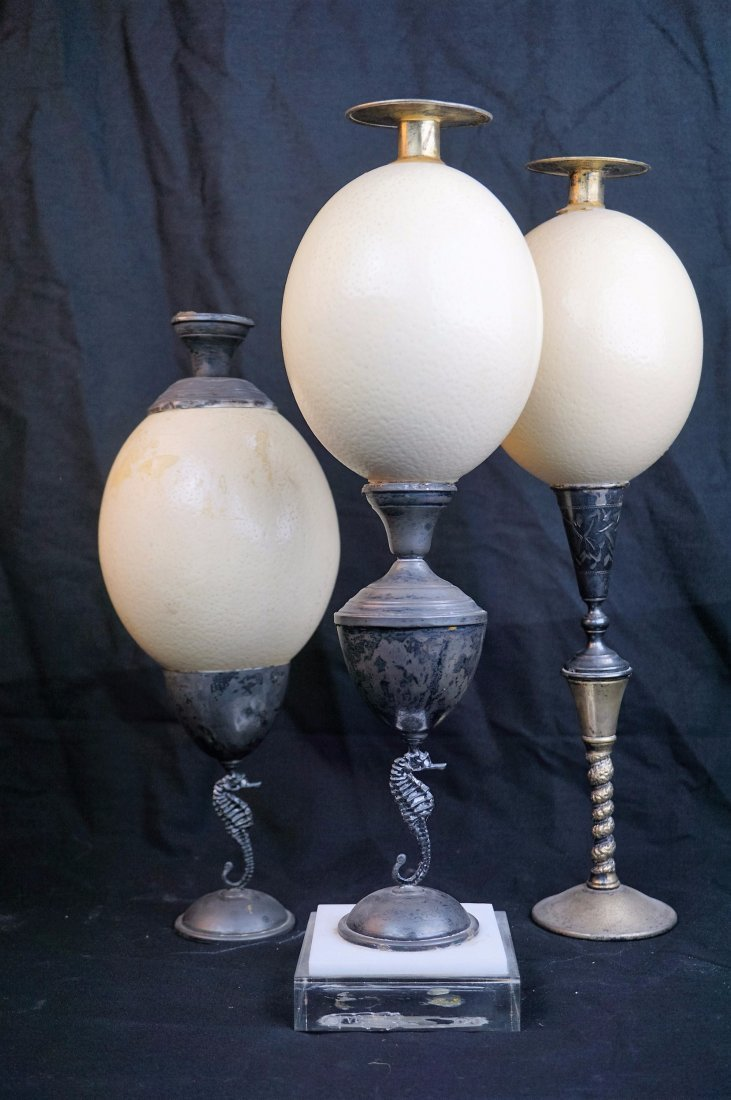Set of 3 Ostrich Egg Candle Stick Holders