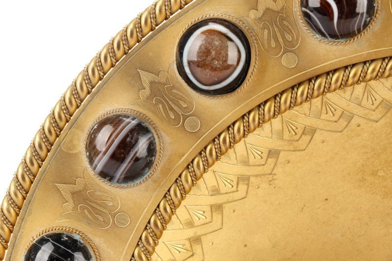 Gilt Victorian Bowl with Cabochon Agate Surround