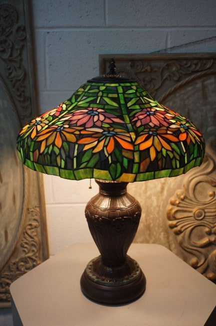 Floral Pattern Stained Glass lamp on Bronze Base