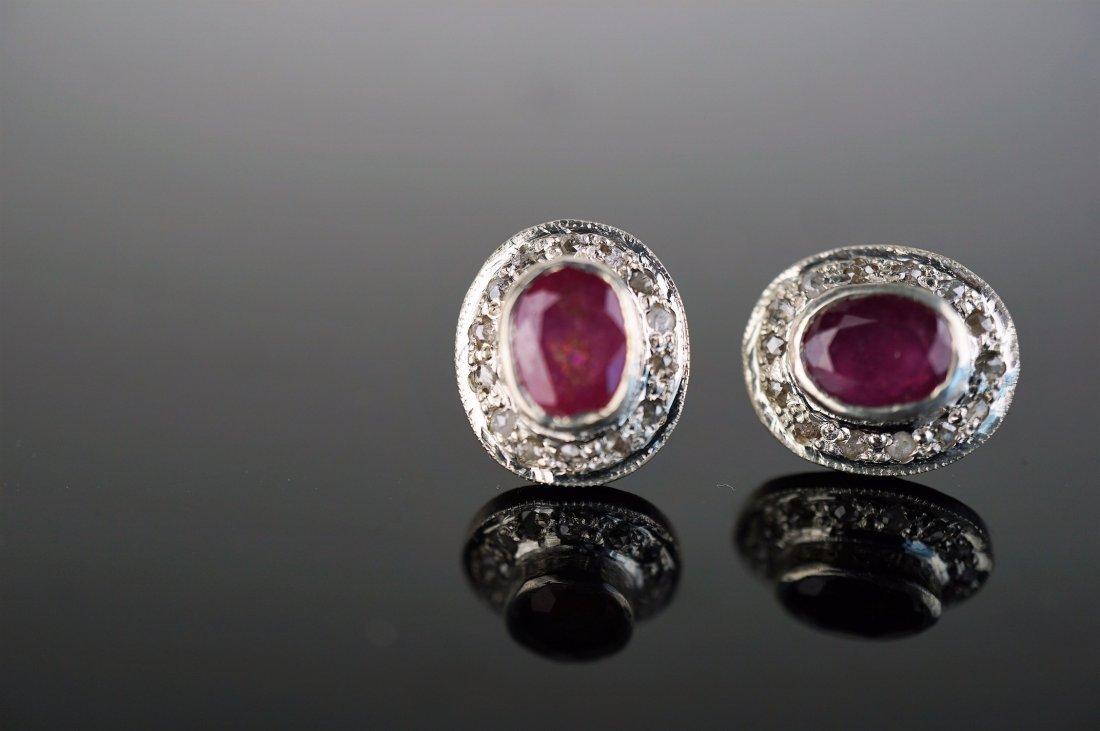 Ruby with Diamond Bezel Earrings