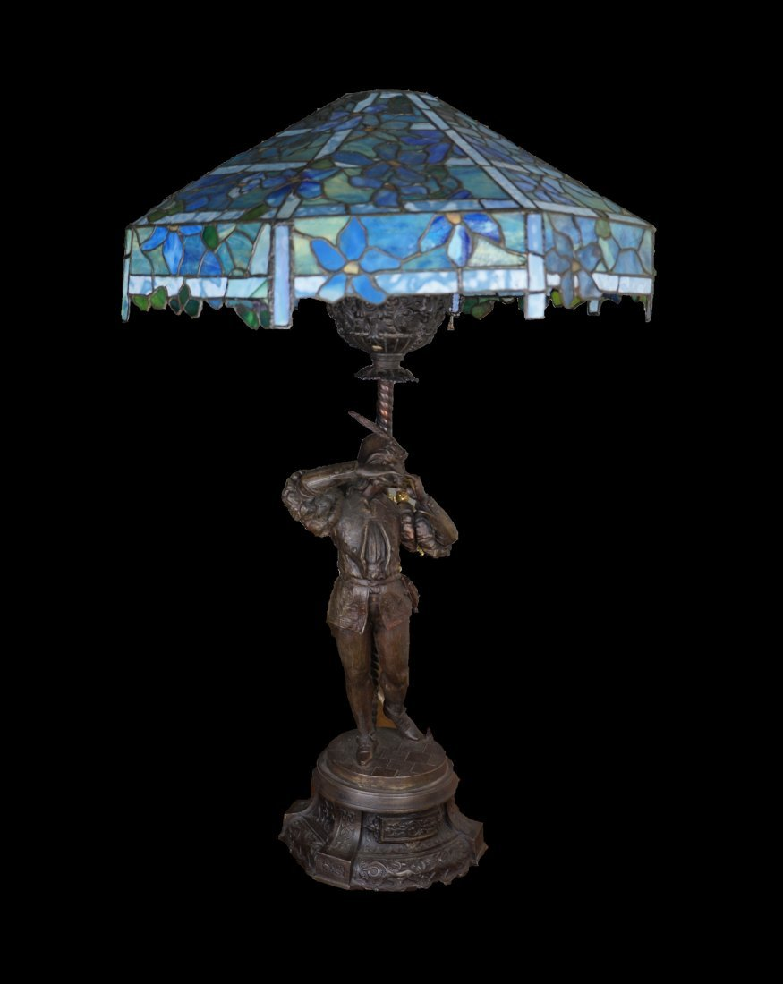 Blue Stained Glass Lamp in the Manner of Tiffany Studio