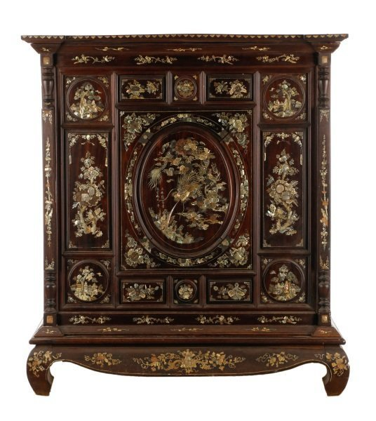 Large Chinese Mother of Pearl Inlaid Cabinet