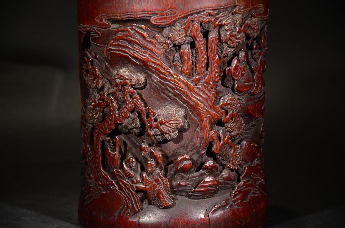 GU YU MARK, A CARVED BAMBOO FIGURAL BRUSHPOT - 2