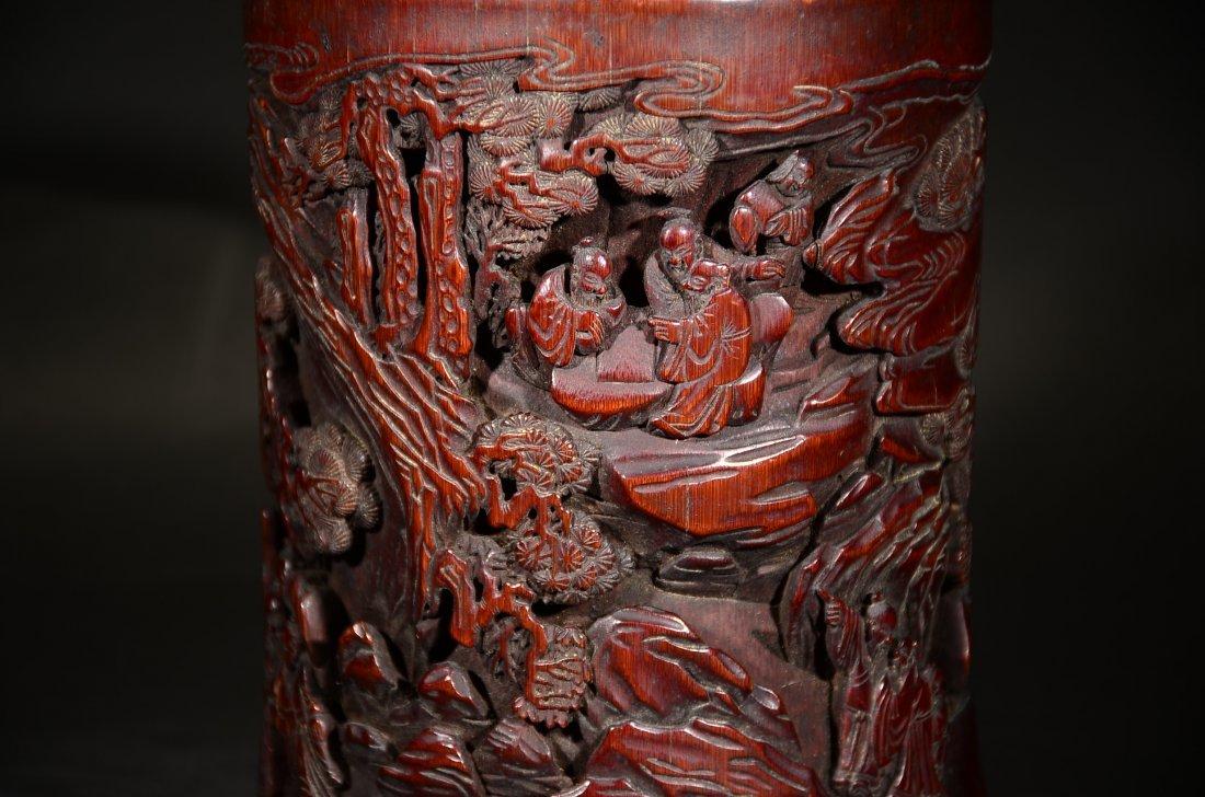 GU YU MARK, A CARVED BAMBOO FIGURAL BRUSHPOT - 3