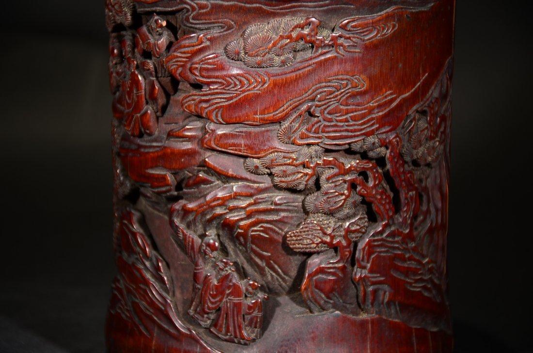 GU YU MARK, A CARVED BAMBOO FIGURAL BRUSHPOT - 4