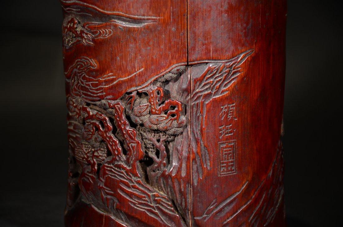GU YU MARK, A CARVED BAMBOO FIGURAL BRUSHPOT - 5