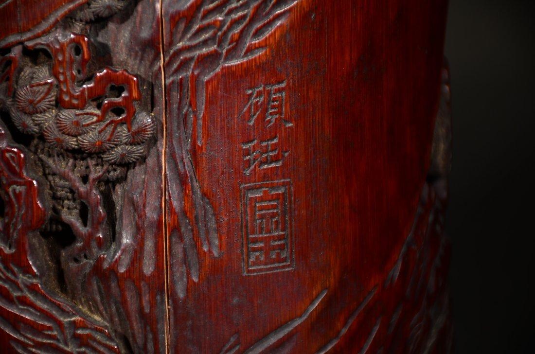 GU YU MARK, A CARVED BAMBOO FIGURAL BRUSHPOT - 6